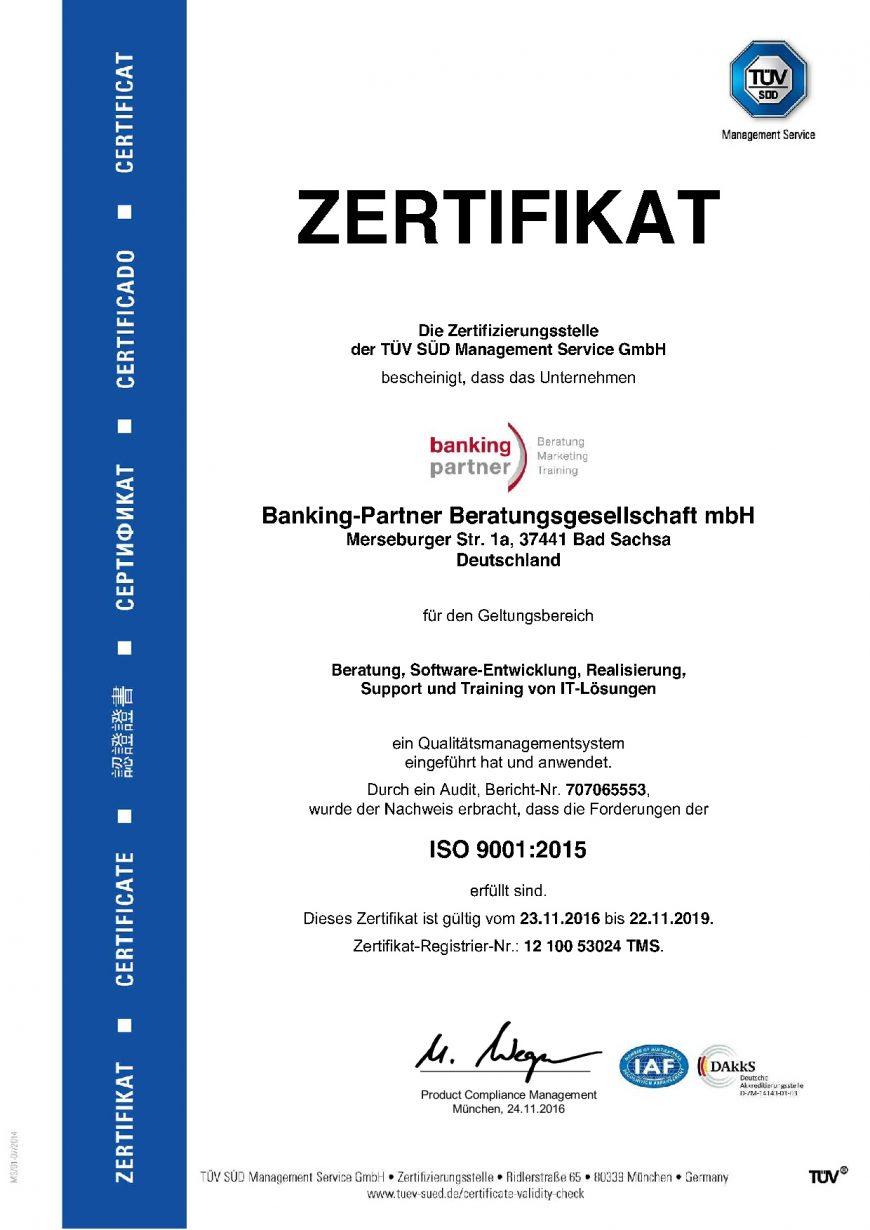 Zertifizierung nach ISO 9001 Standard